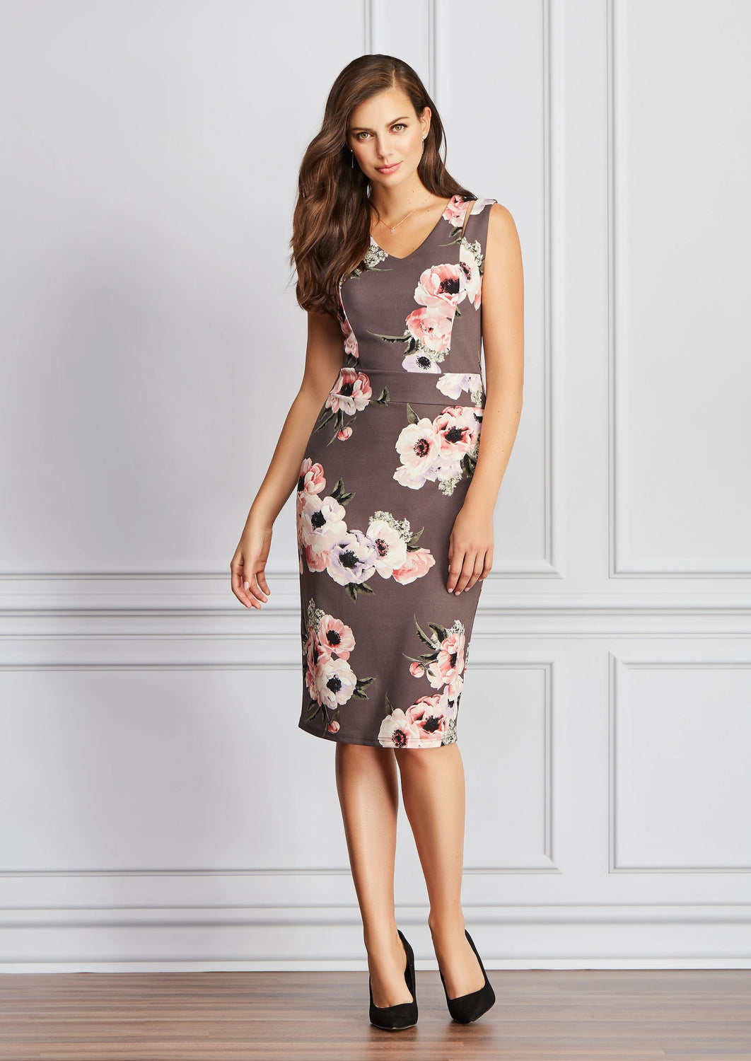 Sleeveless Floral Crepe Dress