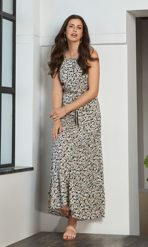Halter Neck Tiered Ditsy Floral Maxi Dress