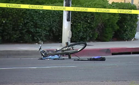 Mangled… Bicycle lay on the crash site. The Prius driver fled away || CBS 8 San Diego