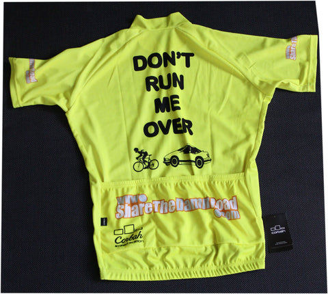 Fluorescent Yellow DON'T RUN ME OVER Ver. 3.0 Cycling Jersey