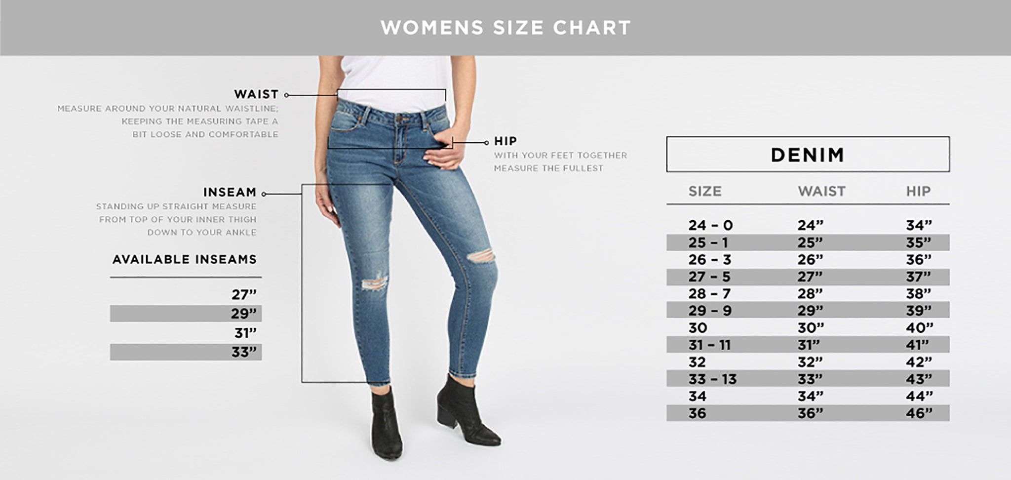 Womens Denim Size Guide