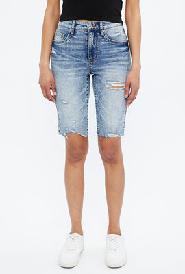Emma High Rise Denim Biker Short