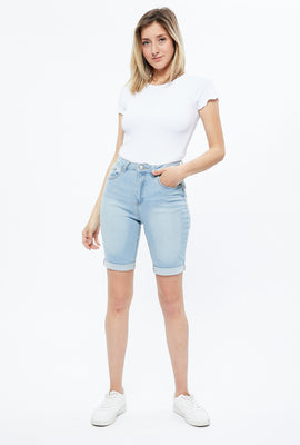 High Rise Push Up Denim Biker Short