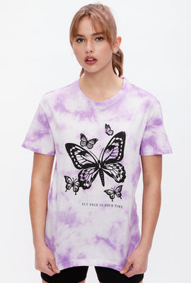 Tie Dye Butterfly Fly Free In Your Time Graphic Boyfriend Tee