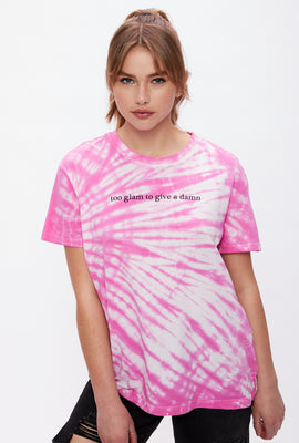Tie Dye Too Glam to Give a Damn Graphic Boyfriend Tee