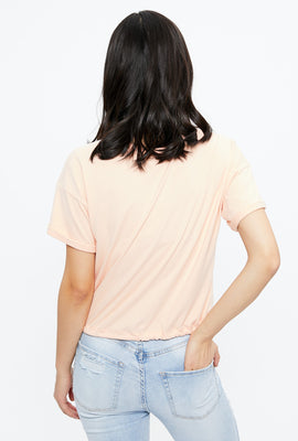 Super Soft Crop Tie Bottom Tee