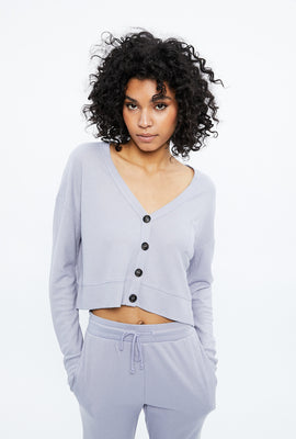 V-Neck Button Front Waffle Cardigan