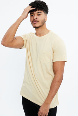 Solid Roll Cuff Pocket Tee