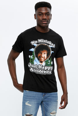 T-shirt à imprimé Bob Ross Happy Accidents