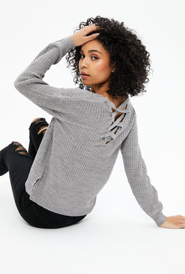 Pullover Sweater with Lace-Up Back