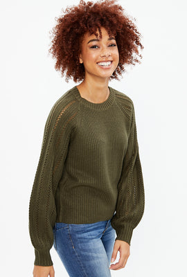 Knit Sweater with Pointelle Sleeves