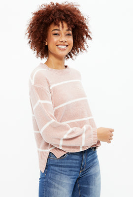 Striped Pullover Sweater with Balloon Sleeves