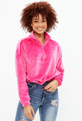 Quarter Zip Plush Crop Pullover
