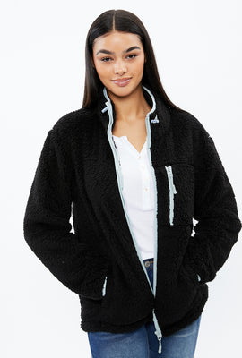 Sherpa Full Zip Sweatshirt with Chest Pocket