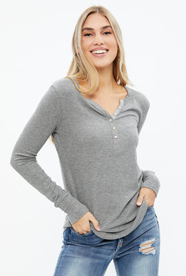 Ribbed Henley Long Sleeve