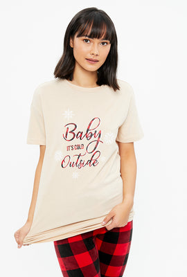 T-shirt de pyjama coton bio Baby It's Cold Outside