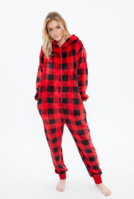 Soft Plush Plaid Sherpa Lined Zip-Up Onesie