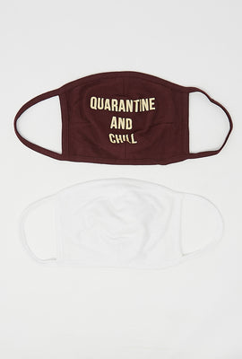 Double Layered Reusable Quarantine and Chill Graphic Face Mask 2-Pack
