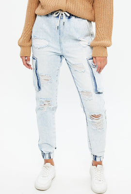 High Rise Relaxed Cargo Denim Jogger