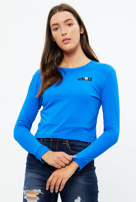 Crop Chill Long Sleeve Graphic Tee