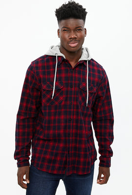 North Western 2 Pocket Hooded Buffalo Plaid Flannel