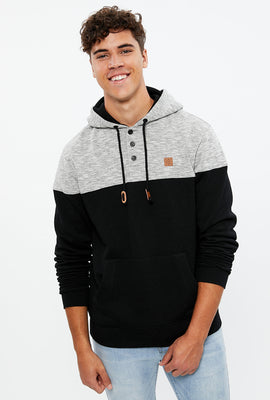 Colour Block Henley Pullover Hoodie