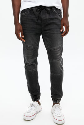 Slim Knit Denim Moto Jogger