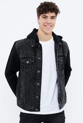 Jacket en denim avec capuchon en molleton