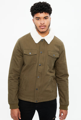 North Western Twill Sherpa Jacket