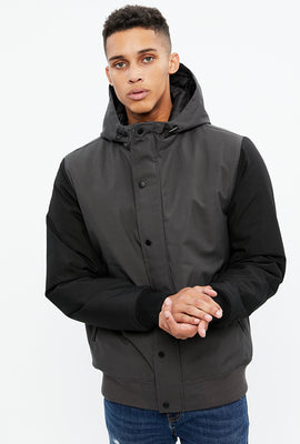 North Western Hooded Colour Block Bomber Jacket