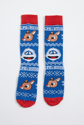 Rudolph and Bumble Face Sock