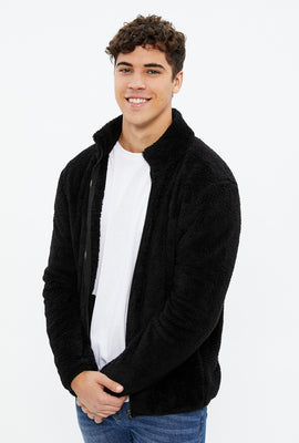 Teddy Sherpa Mock Neck Zip Sweater