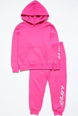 Girls Fleece Graphic Leg Print Basic Jogger