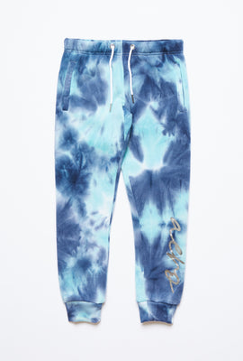 Girls Fleece Tie Dye Graphic Leg Print Basic Jogger