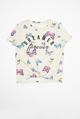AERO Girls Super Soft Tie Front Butterfly Dreamer Forever Graphic Tee