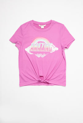 AERO Girls Super Soft Tie Front Rainbow Amazing Graphic Tee