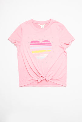 AERO Girls Super Soft Tie Front Multicoloured Heart Graphic Tee