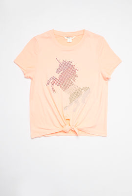 AERO Girls Super Soft Tie Front Gradient Unicorn Graphic Tee