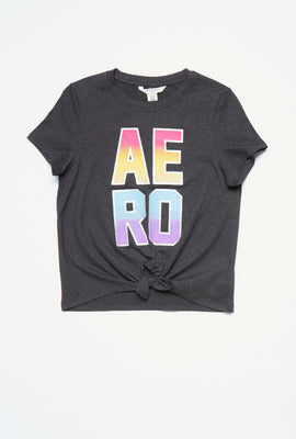 AERO Girls Super Soft Tie Front Multicoloured Graphic Tee