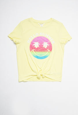 AERO Girls Super Soft Tie Front Multicoloured Smiley Face Hello Summer Graphic Tee