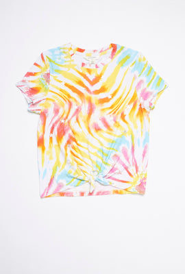 AERO Girls Super Soft Tie Dye Tie Front Graphic Tee