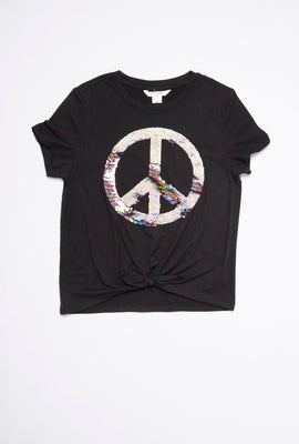 AERO Girls Super Soft Tie Front Flippy Sequin Peace Sign Graphic Tee