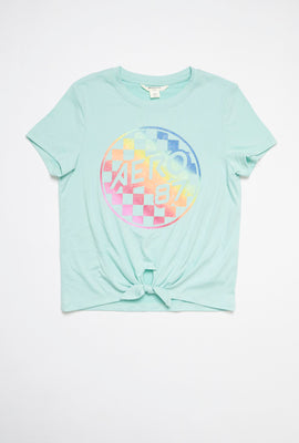 AERO Girls Super Soft Tie Front Graphic Tee