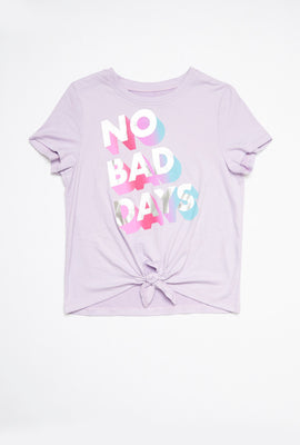 AERO Girls Super Soft Tie Front No Bad Days Graphic Tee