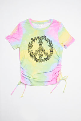 AERO Girls Super Soft Side Cinched Peace Sign Graphic Tee