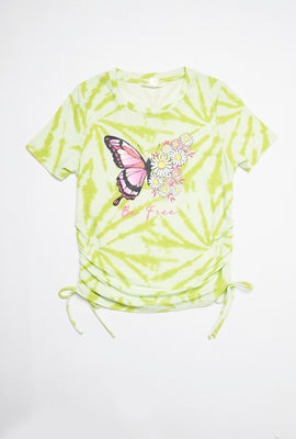 AERO Girls Super Soft Side Cinched Butterfly Graphic Tee