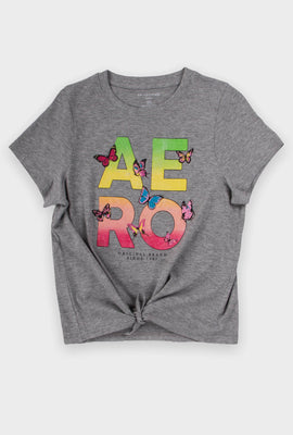AERO Girls Aero Logo Tie Front Graphic Tee