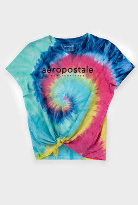AERO Girls Tie Dye Aéropostale New York 87 Logo Tie Front Graphic Tee