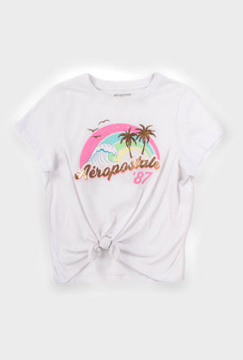 AERO Girls Palm Trees Aéropostale 87 Tie Front Graphic Tee
