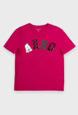 AERO Girls Flippy Sequin Aero Logo Graphic Tee